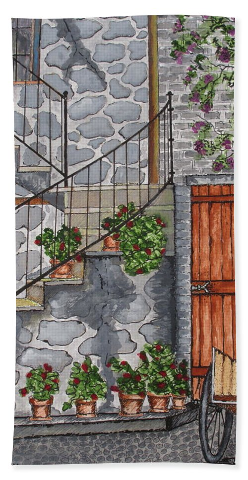 Print Bath Sheet featuring the painting Ancient Grey Stone Residence by Ashley Goforth