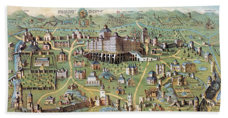1851 Hand Towel featuring the photograph Ancient Jerusalem by Granger