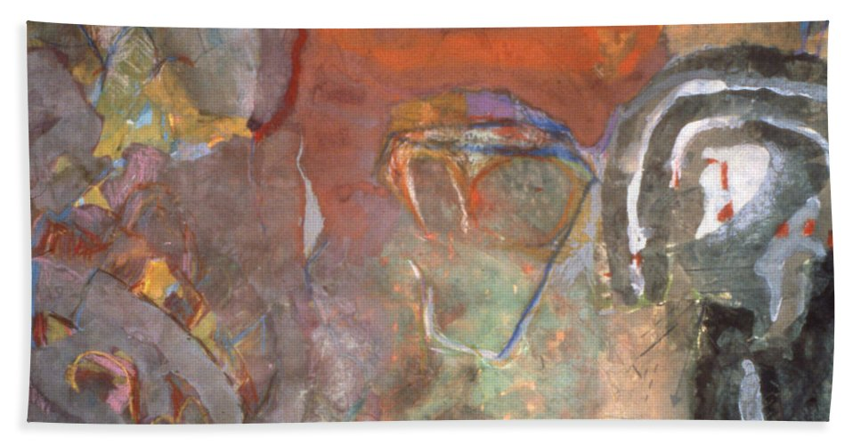 Gouache Hand Towel featuring the mixed media Ancient Orange by Richard Baron