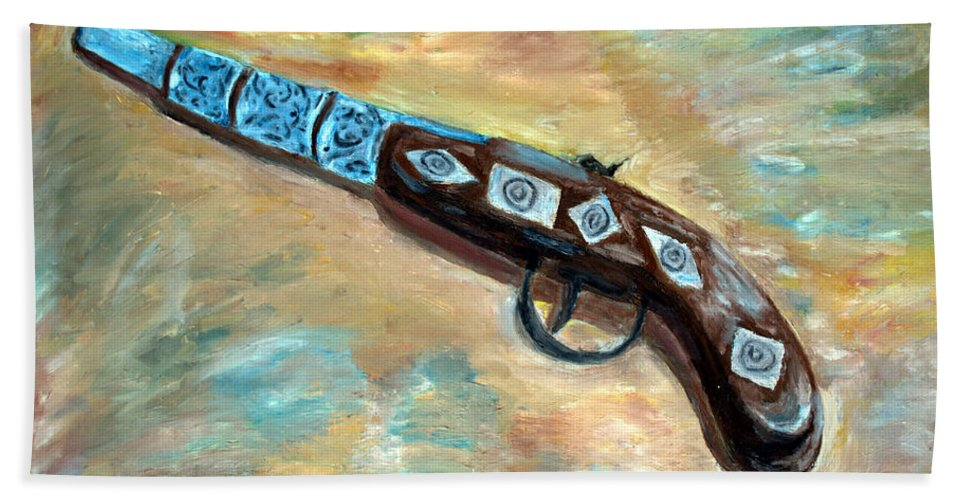Ancient Pistol Hand Towel featuring the painting Ancient Pistol by Rachid Hatni