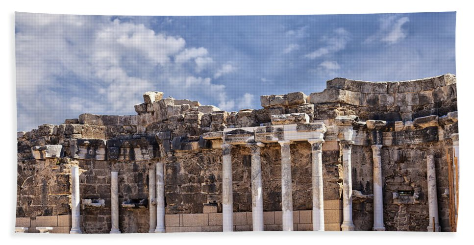 Antique Bath Sheet featuring the photograph Ancient Ruins In Side Turkey by Sophie McAulay