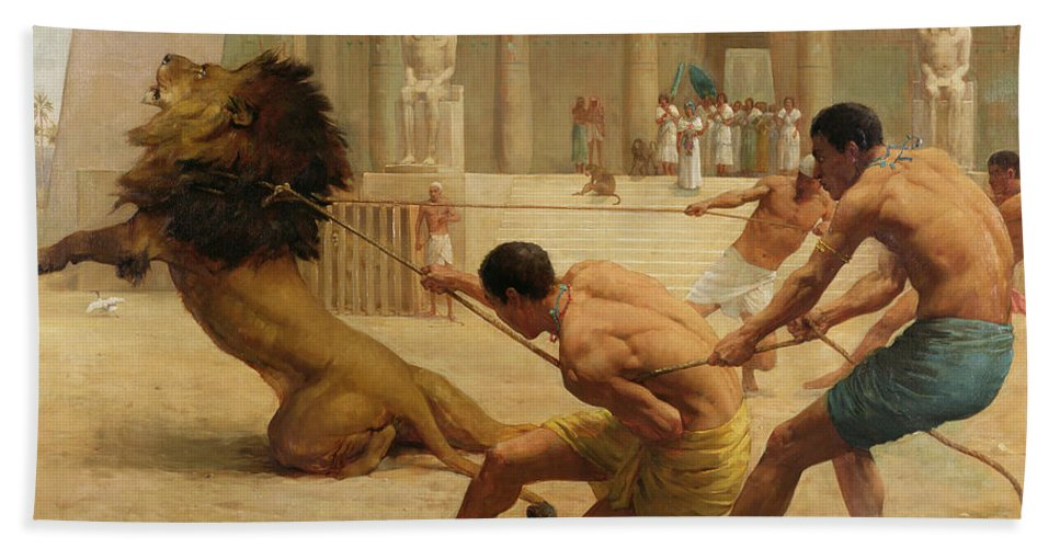 Ancient Egypt; Lion; Leopard Skin; Temple; Columns; Hieroglyphics; Statue; Ropes; Monkey; Audience; Game; Architecture Hand Towel featuring the painting Ancient Sport by George Goodwin Kilburne