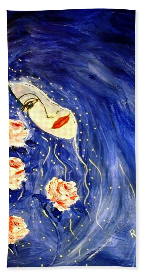 Love Hand Towel featuring the painting And Her Love Grows... by Robin Monroe