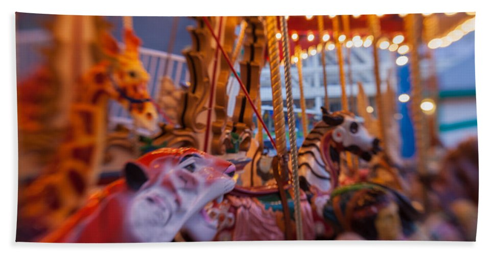 Carousel Hand Towel featuring the photograph And The Zebra Is In The Lead by Scott Campbell