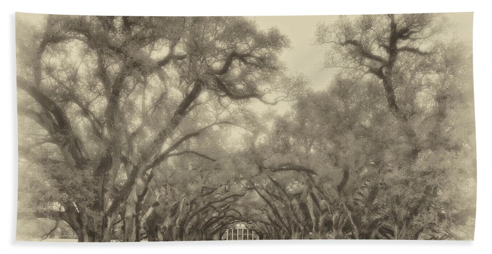 Oak Alley Plantation Bath Sheet featuring the photograph And Time Stood Still Sepia by Steve Harrington