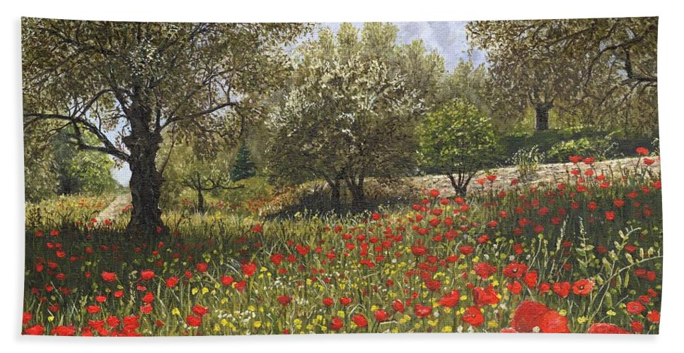 Landscape Bath Towel featuring the painting Andalucian Poppies by Richard Harpum