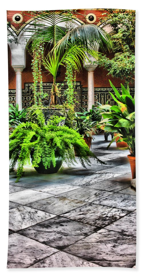 Courtyard Hand Towel featuring the digital art Andalusian Courtyard In Sevilla Spain by Greg Matchick