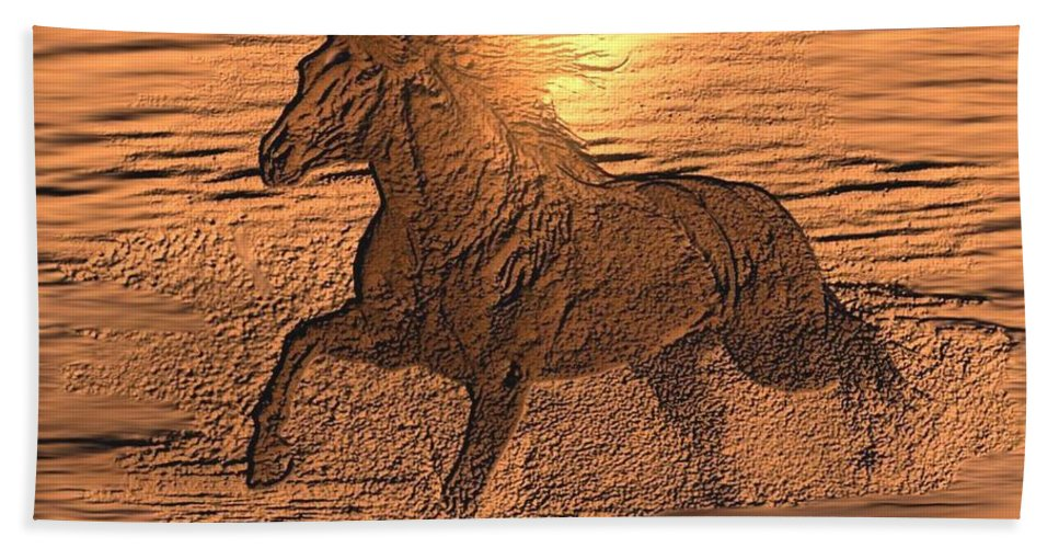 Andalusian Sunset Bath Sheet featuring the digital art Andalusian Sunset by Maria Urso