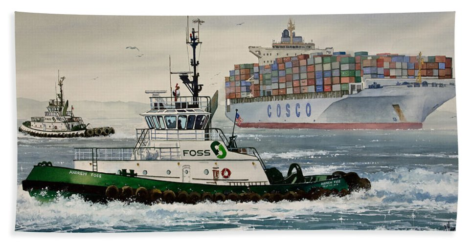 Tugs Bath Sheet featuring the painting Andrew Foss Assisting Cosco by James Williamson