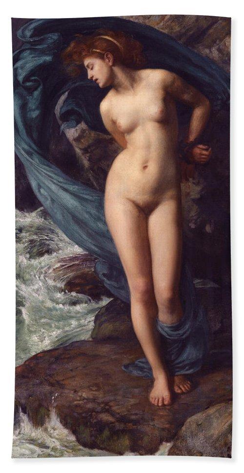 Edward John Poynter Hand Towel featuring the painting Andromeda by Edward John Poynter