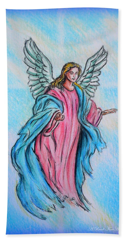 Angel Hand Towel featuring the drawing Angel by Andrew Read