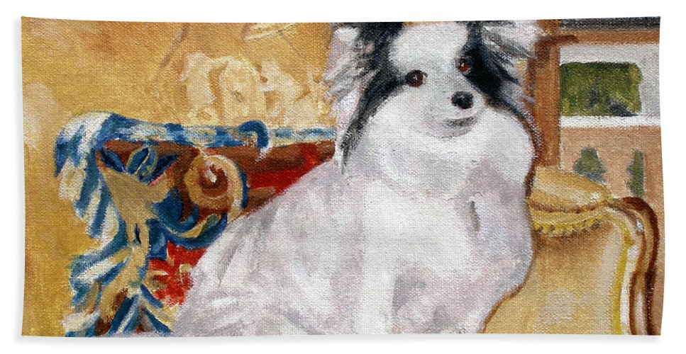 Papillon Bath Sheet featuring the painting April by Candace Lovely