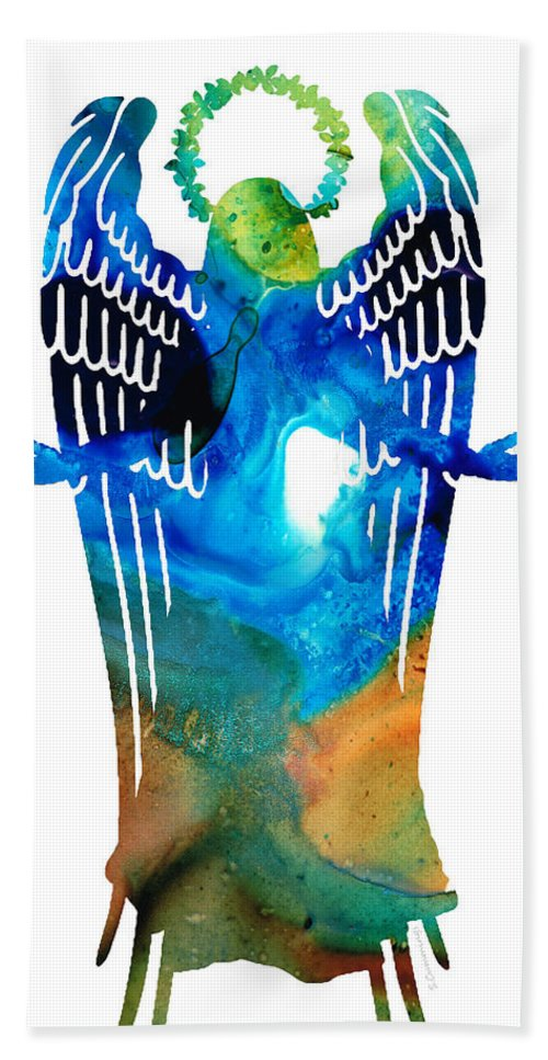 Angel Bath Sheet featuring the painting Angel Of Light - Spiritual Art Painting by Sharon Cummings