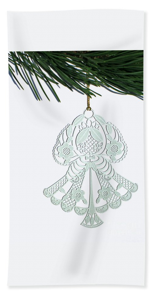Christmas Hand Towel featuring the photograph Angel Ornament by Ann Horn