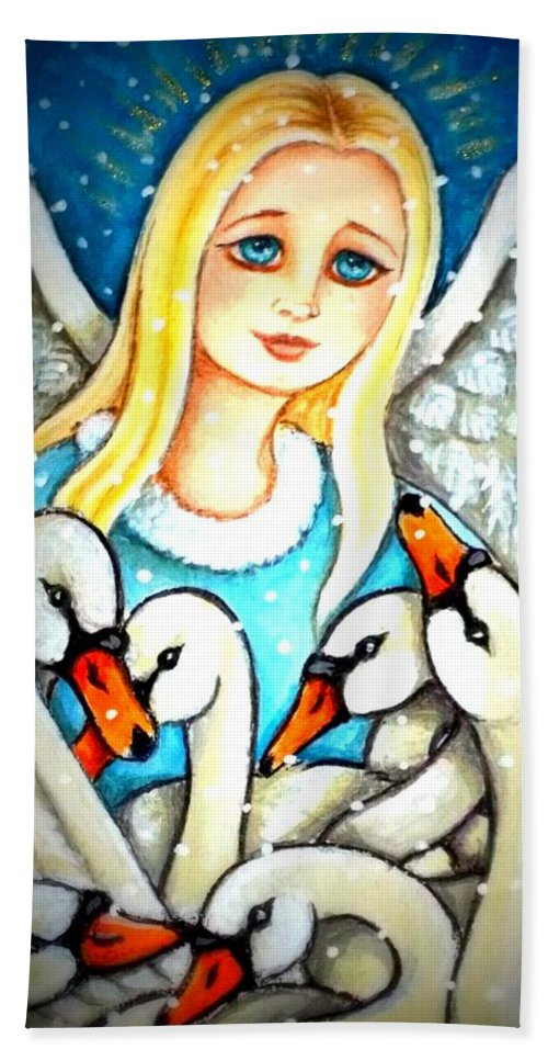 Seven Swans Hand Towel featuring the painting Angel Sheltering Seven Swans by Debrah Nelson
