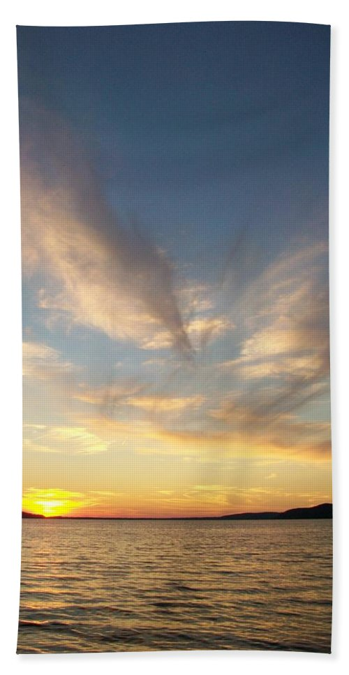 Crystal Lake Bath Sheet featuring the photograph Angel Wing Sunset by Jennifer Forsyth