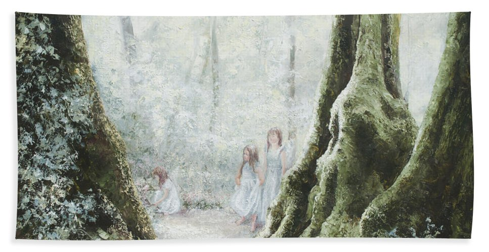 Landscape Hand Towel featuring the painting Angels In The Mist by Jan Matson