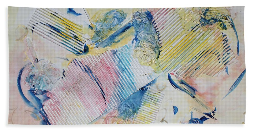 Abstract Painting Bath Sheet featuring the painting Angels Lingering by Asha Carolyn Young