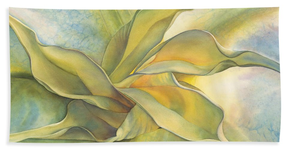 Angel's Trumpet Bath Sheet featuring the painting Angel's Pirouette by Sandy Haight