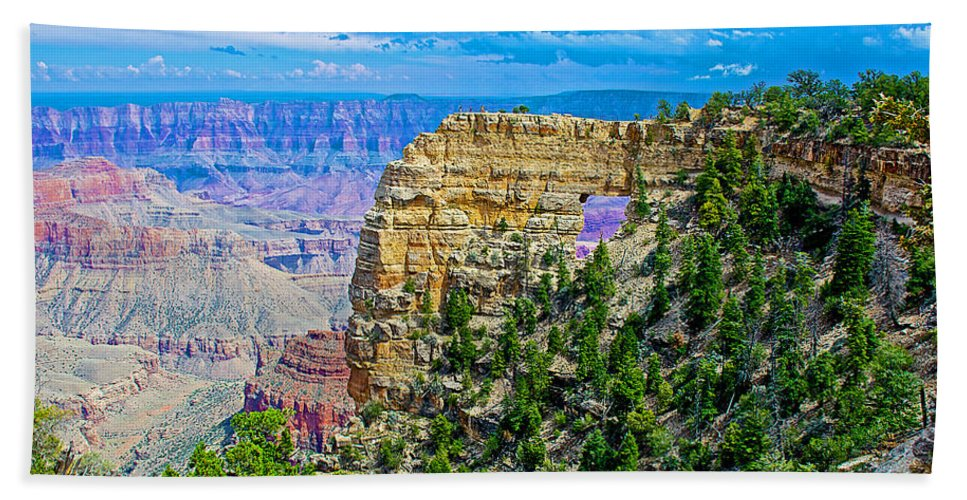 Angel's Window At Cape Royal On North Rim/grand Canyon National Park Hand Towel featuring the photograph Angel's Window At Cape Royal On North Rim Of Grand Canyon-arizona by Ruth Hager