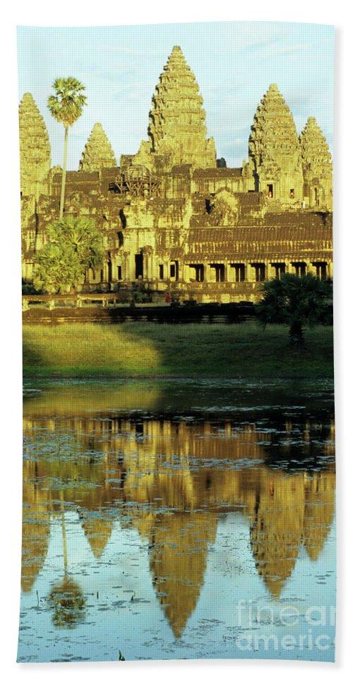 Angkor Bath Sheet featuring the photograph Angkor Wat Reflections 02 by Rick Piper Photography