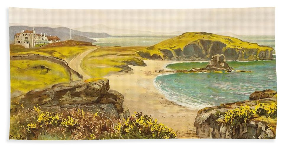 Anglesey Bath Towel featuring the painting Anglesey by Henry John Yeend King