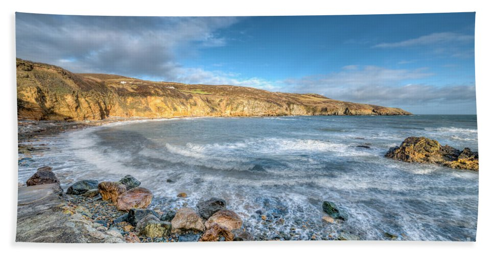 Anglesey Hand Towel featuring the photograph Anglesey Seascape by Adrian Evans