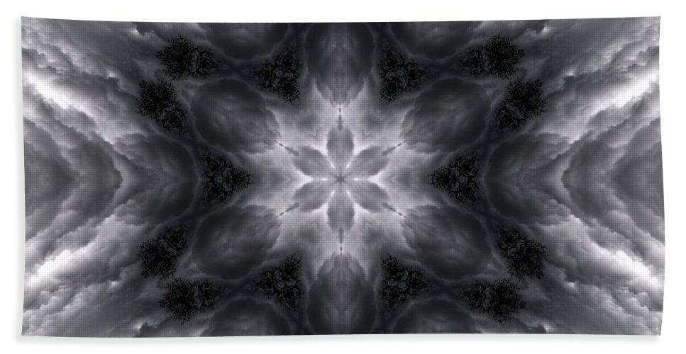 Hand Towel featuring the photograph Angry Clouds Mandala1 by Lee Santa