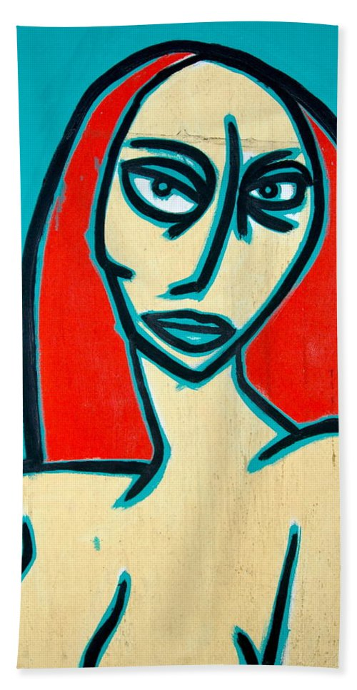 Oil Bath Towel featuring the painting Angry Jen by Thomas Valentine