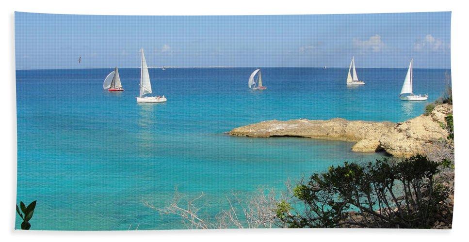 Regatta Hand Towel featuring the photograph Anguilla Regatta by Kristin Bourne