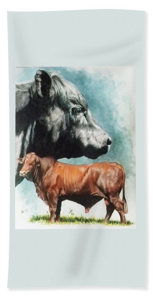 Beef Hand Towel featuring the mixed media Angus Cattle by Barbara Keith