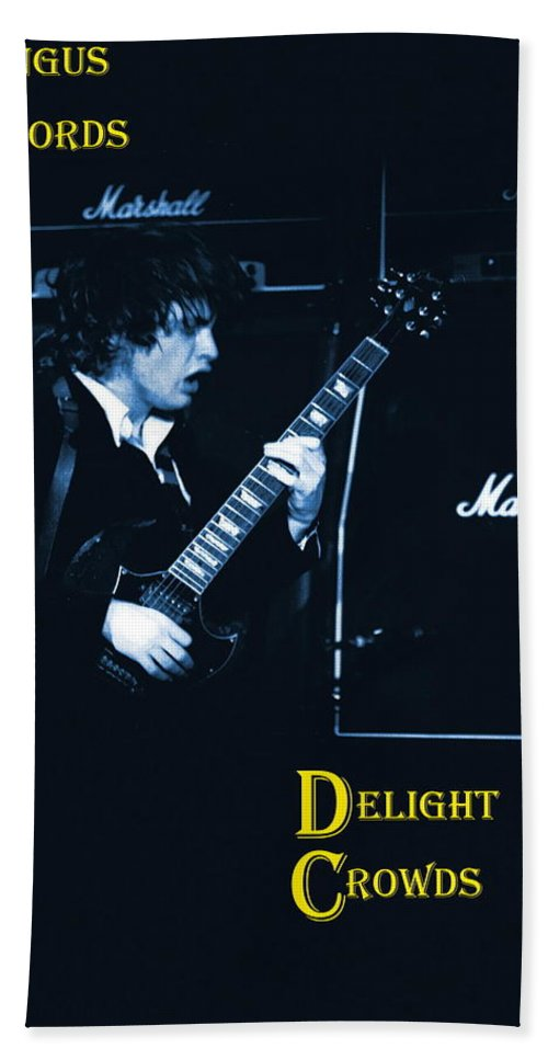 Angus Young Bath Towel featuring the photograph Angus Chords Delight Crowds In Blue by Ben Upham