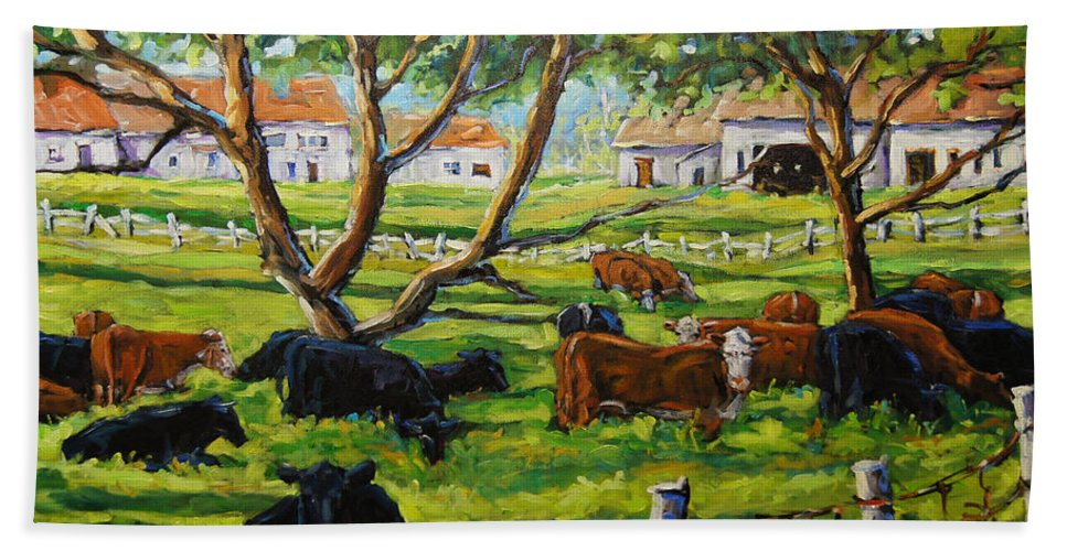 Canadian Artist Painter Bath Sheet featuring the painting Angus Cows Under The Cool Shade By Prankearts by Richard T Pranke