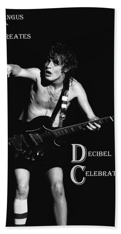 Angus Young Hand Towel featuring the photograph Angus Creates Decibel Celebrations by Ben Upham