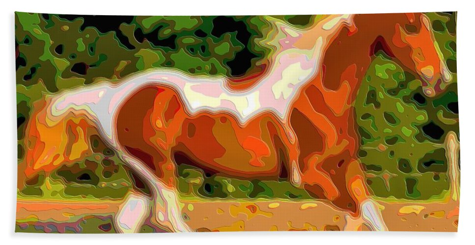 Animal-art Hand Towel featuring the digital art Animal Portrait The Horse by Mary Clanahan