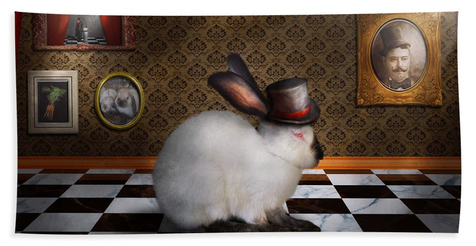Rabbit Hand Towel featuring the photograph Animal - The Rabbit by Mike Savad