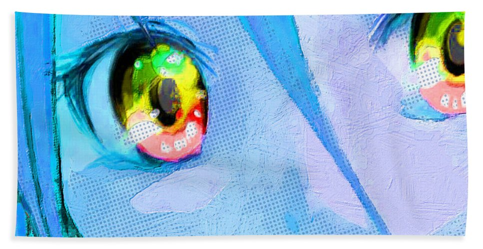 Comics Hand Towel featuring the painting Anime Girl Eyes Blue by Tony Rubino