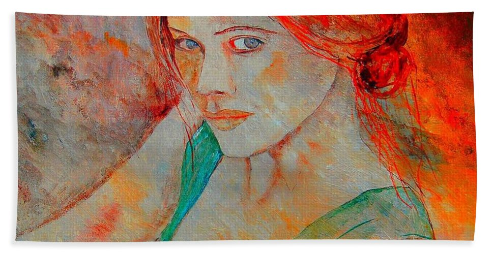Figurative Bath Sheet featuring the painting Anna by Pol Ledent