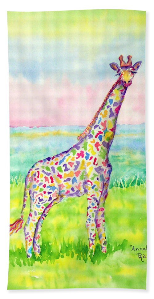 Giraffe Hand Towel featuring the painting Annabelle by Rhonda Leonard