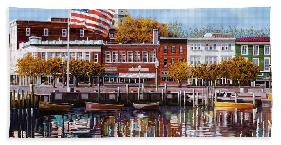 Annapolis Bath Towel featuring the painting Annapolis by Guido Borelli