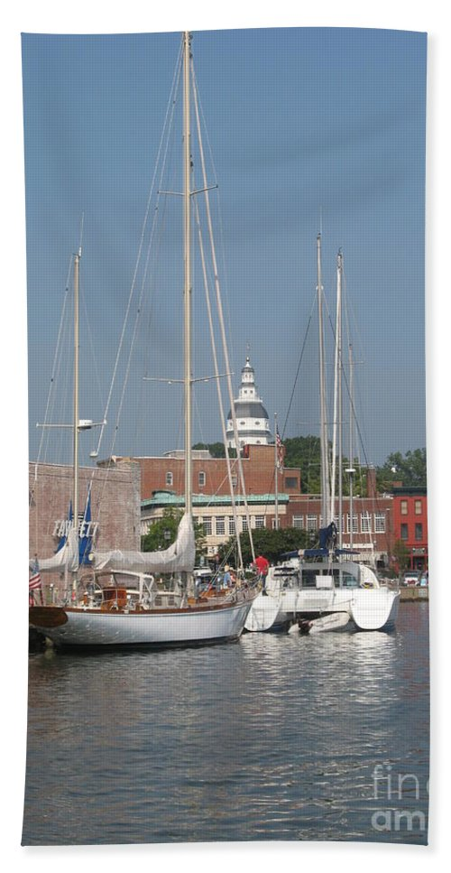 Harbor Bath Sheet featuring the photograph Annapolis Harbor Alongside Dock Street by Christiane Schulze Art And Photography