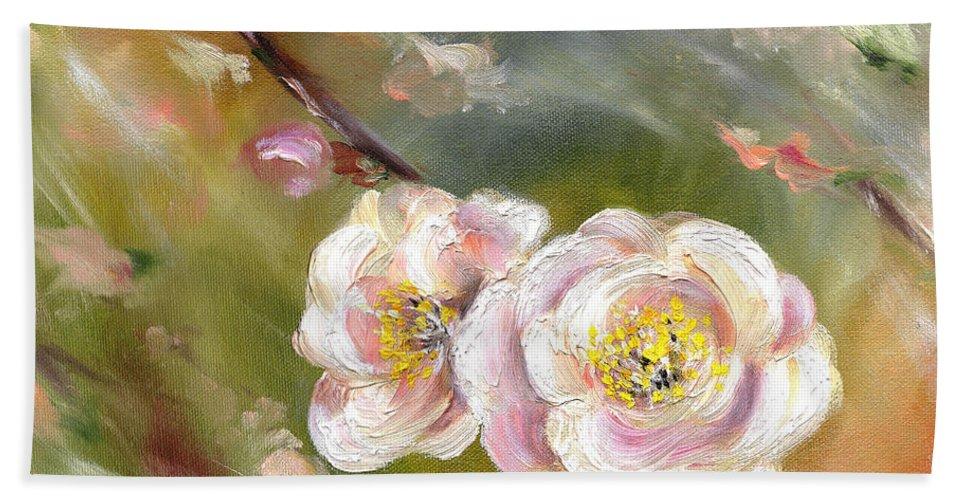 Flower Hand Towel featuring the painting Anniversary by Hiroko Sakai