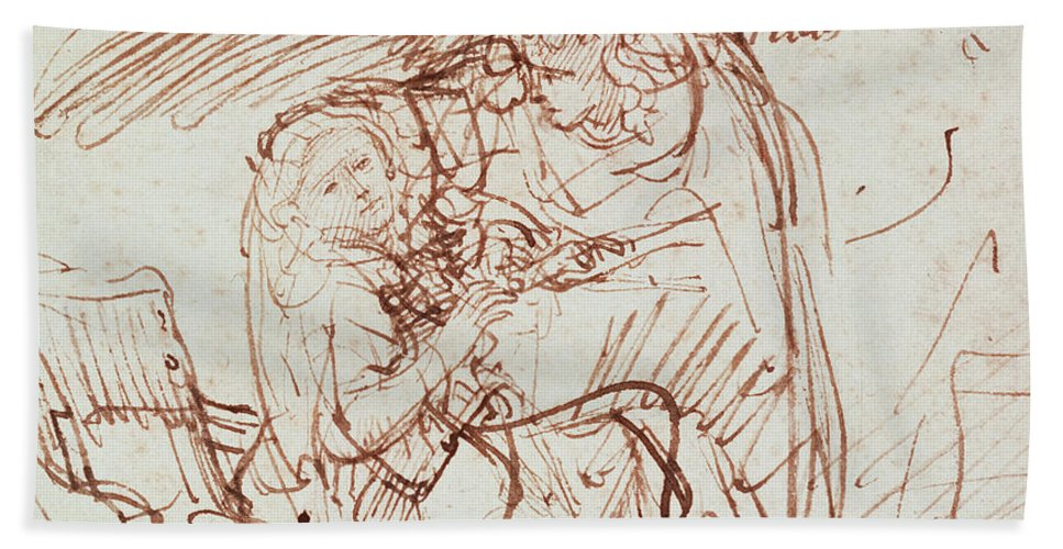 Annunciation Bath Towel featuring the drawing Annunciation by Rembrandt Harmenszoon van Rijn