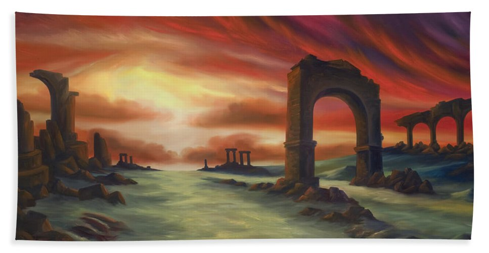 Sunset Bath Sheet featuring the painting Another Fallen Empire by James Christopher Hill