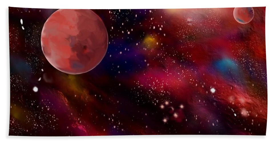 Space Hand Towel featuring the painting Another Galaxy by Karen Harding