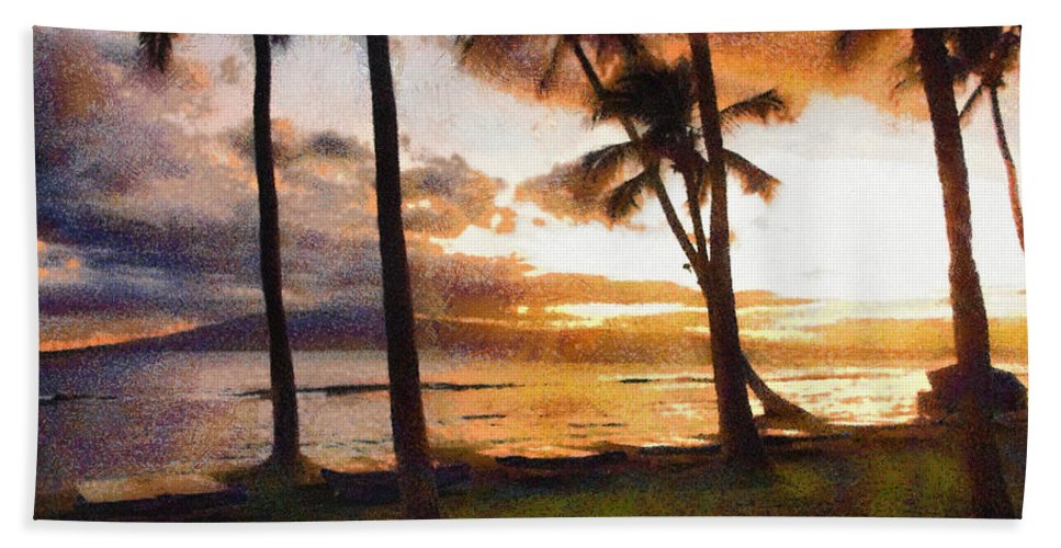 Maui Hand Towel featuring the photograph Another Maui Sunset - Pastel by John Dauer