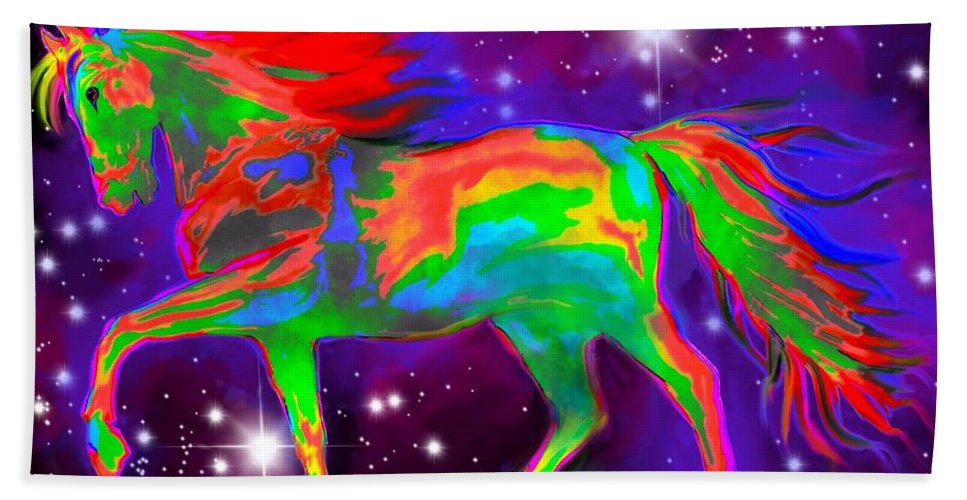 Stallion Hand Towel featuring the painting Another Rainbow Stallion by Nick Gustafson