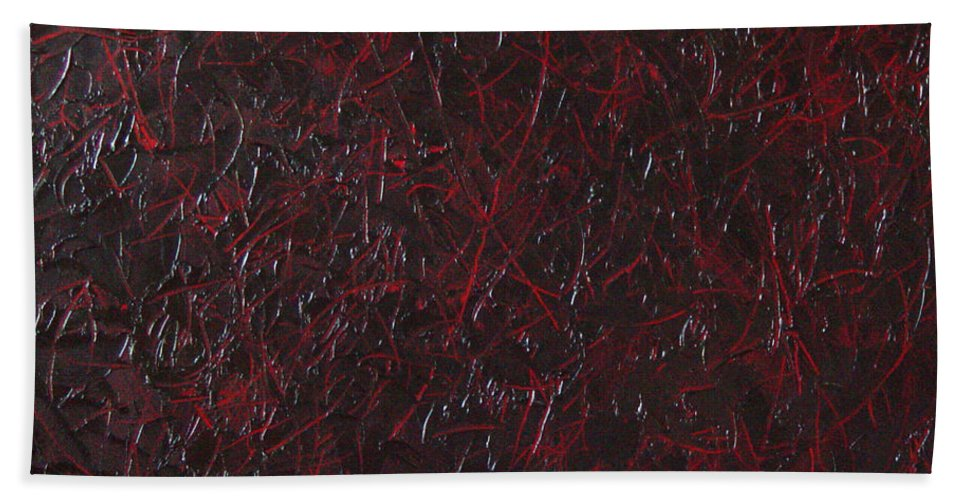 Abstract Bath Sheet featuring the painting Another Shedding by Dean Triolo