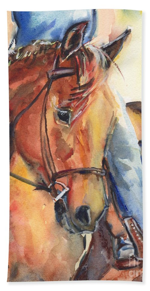 Horse Hand Towel featuring the painting Horse In Watercolor Another Sunrise by Maria's Watercolor