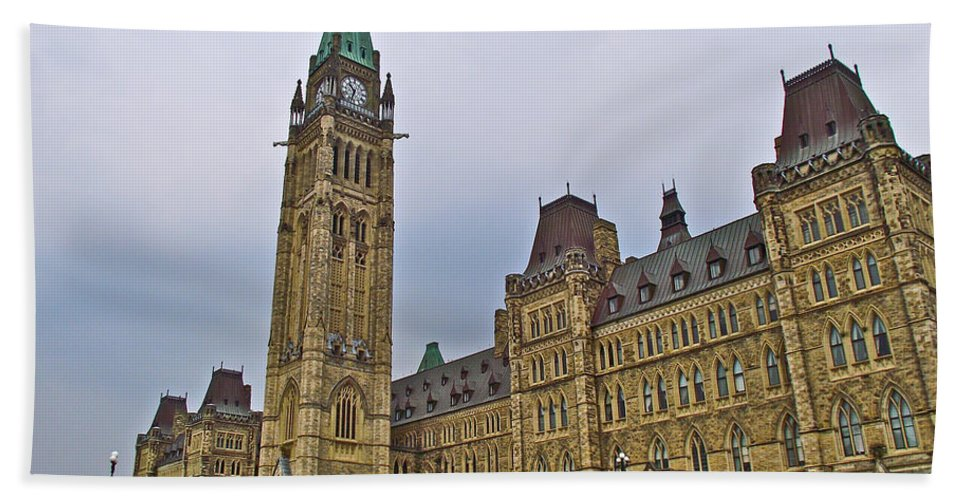 Another View Of Parliament Building In Ottawa Bath Sheet featuring the photograph Another View Of Parliament Building In Ottawa-on by Ruth Hager